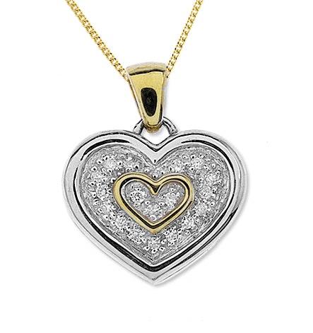 9K Two Tone Diamond Double Heart Pendant (0..20ct)