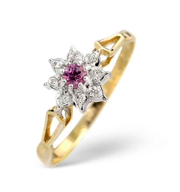 2.75mm Pink Sapphire And Diamond Ring 9K Yellow Gold - image 1