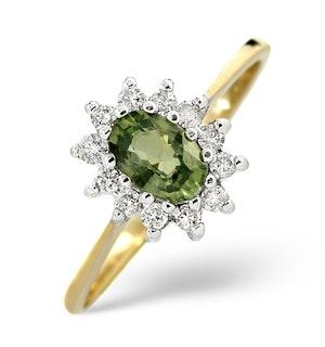 GREEN SAPPHIRE 6 X 4MM AND DIAMOND 9K YELLOW GOLD RING