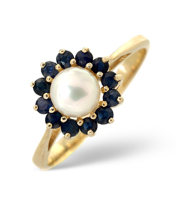 Pearl And Sapphire 9K Gold Ring - image 1