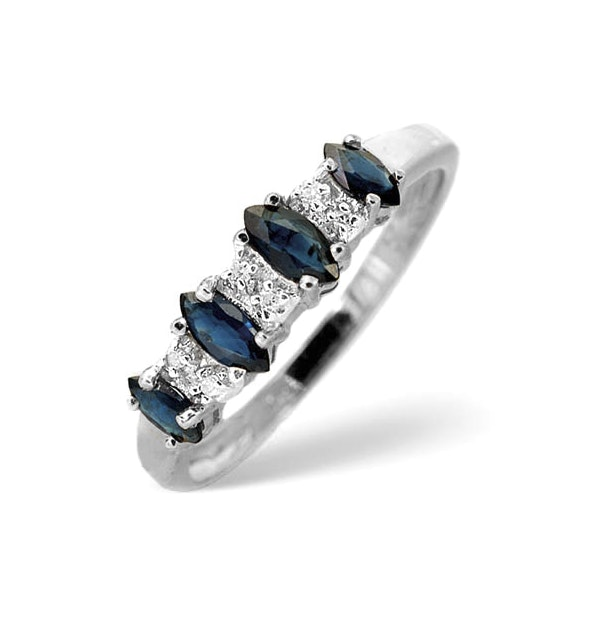 Sapphire 0.76ct And Diamond 9K White Gold Ring - image 1