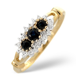 SAPPHIRE 0.34CT AND DIAMOND 9K GOLD RING