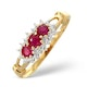 Ruby 0.34ct And Diamond 9K Gold Ring - image 1