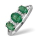 Emerald 1.06ct And Diamond 9K White Gold Ring - image 1