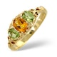 Golden Citrine And Peridot 9K Yellow Gold Ring - image 1