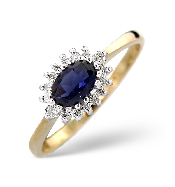 Sapphire 6 x 4mm And Diamond Ring 9K Yellow Gold - image 1