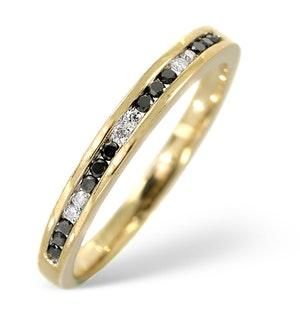 BLACK DIAMOND 0.10CT AND DIAMOND 9K GOLD RING