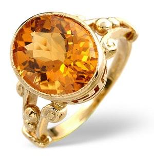 CITRINE 12 X 10MM 9K YELLOW GOLD RING