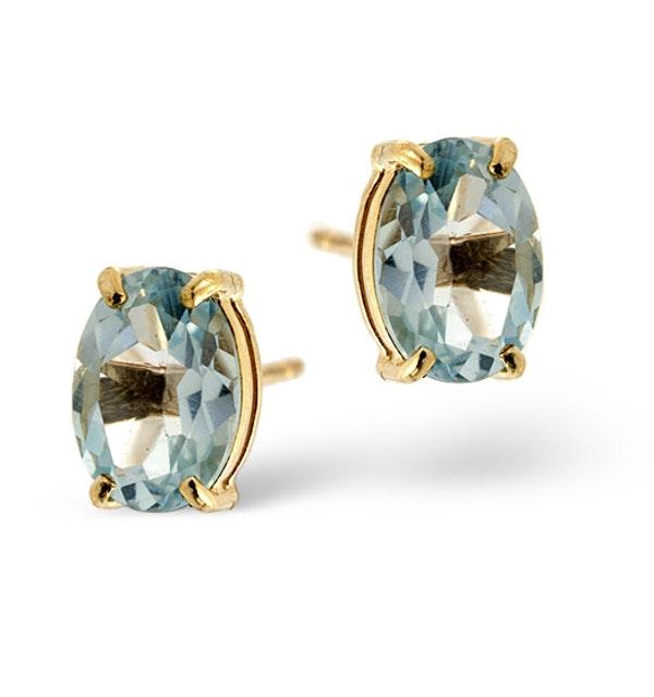 Blue Topaz 7 x 5mm 18K Gold Earrings - image 1