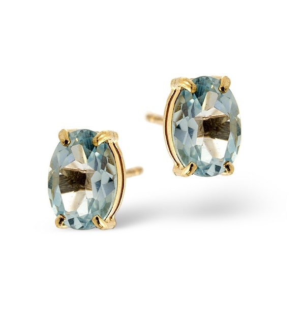 Blue Topaz 7 x 5mm 9K Yellow Gold Earrings - image 1