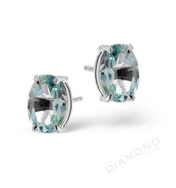Blue Topaz 7 x 5mm and 9K White Gold Earrings - image 1