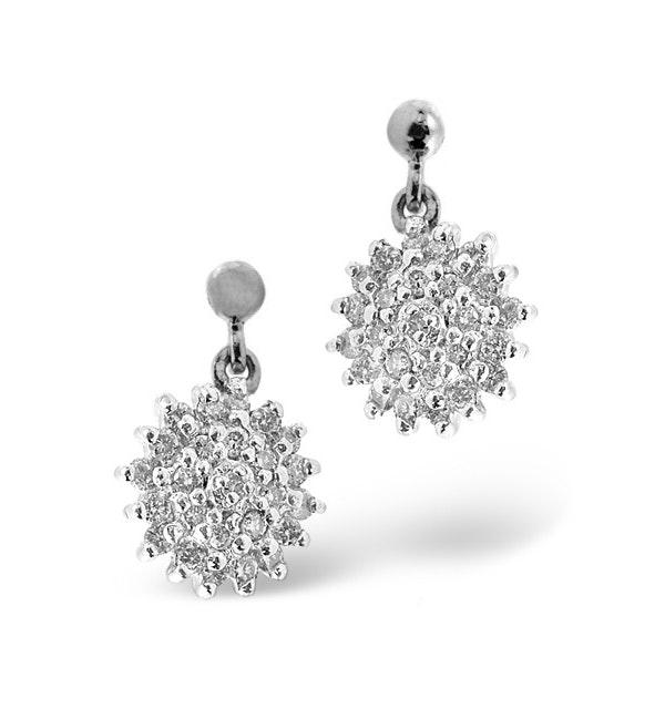 Cluster Earrings 0.50ct Diamond 9K White Gold - image 1