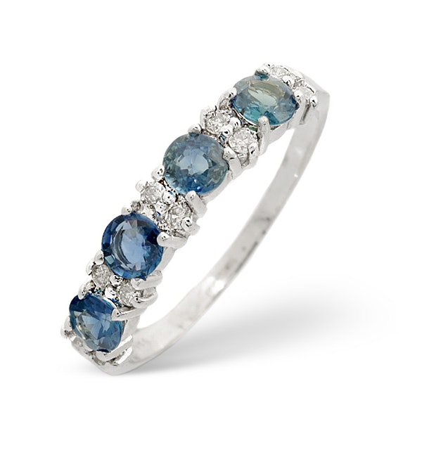 Sapphire 0.70ct And Diamond 9K White Gold Ring - image 1