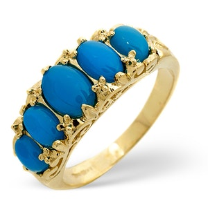 TURQUOISE 7 X 5MM 9K YELLOW GOLD RING