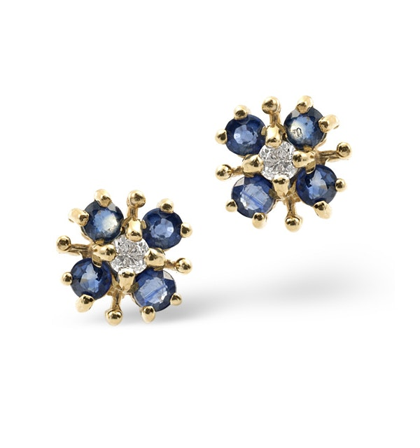 Sapphire 0.40CT And Diamond 9K Yellow Gold Earrings - image 1