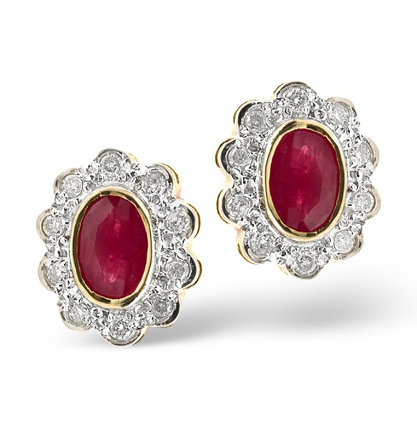 Ruby 6 x 4mm And Diamond 18K Yellow Gold Earrings  FEG28-T - image 1