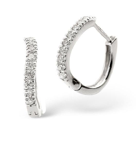 Hoop Earrings 0.11ct Diamond 9K White Gold