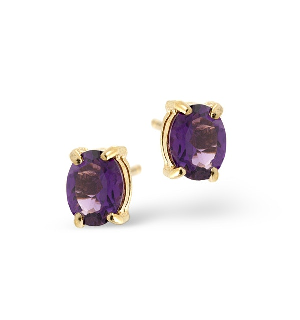 Amethyst 5 x 4mm 9K Yellow Gold Earrings - image 1