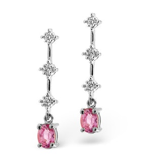 PINK SAPPHIRE 5 X 3MM AND DIAMOND 9K WHITE GOLD EARRINGS