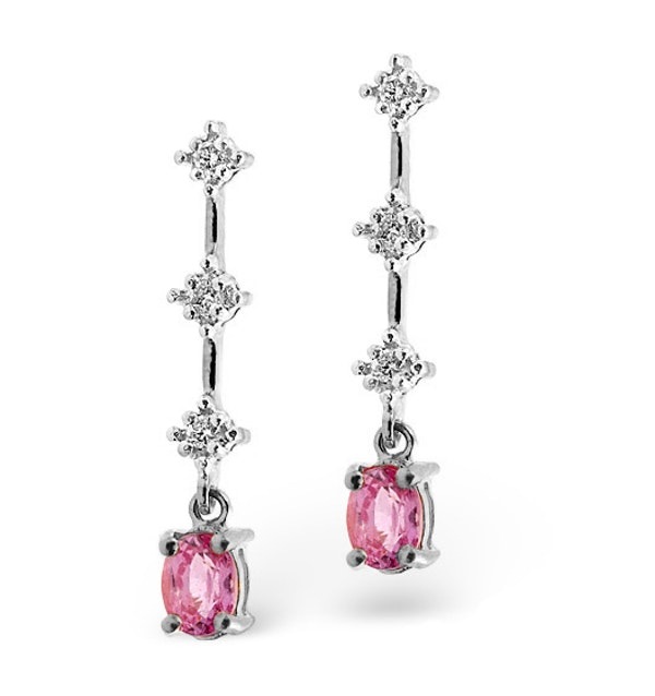 Pink Sapphire 5 x 3mm And Diamond 9K White Gold Earrings - image 1