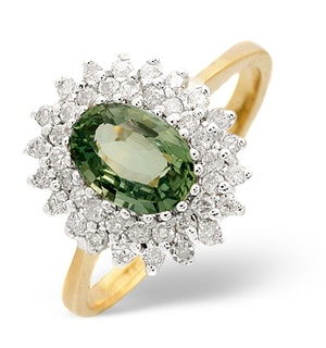 GREEN SAPPHIRE 7 X 5MM AND DIAMOND 9K YELLOW GOLD RING