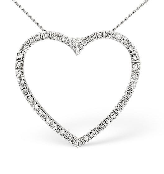 Heart Pendant 0.30ct Diamond 9K White Gold
