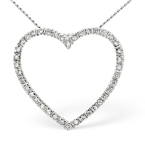 Heart Pendant 0.30ct Diamond 9K White Gold - image 1