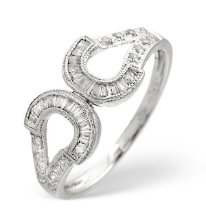 HORSESHOE RING 0.33CT DIAMOND 9K WHITE GOLD