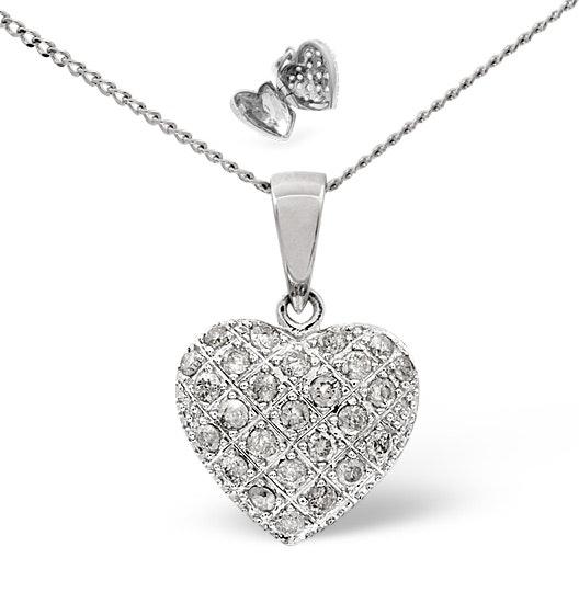 Heart Pendant 0.47ct Diamond 9K White Gold