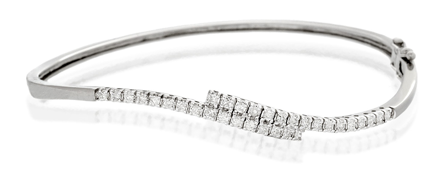 Diamond Bangle 0.50ct 9K White Gold