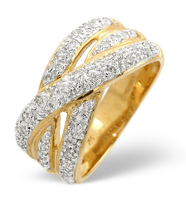 Wide Ring 0.50CT Diamond 9K Yellow Gold - Size H - image 1