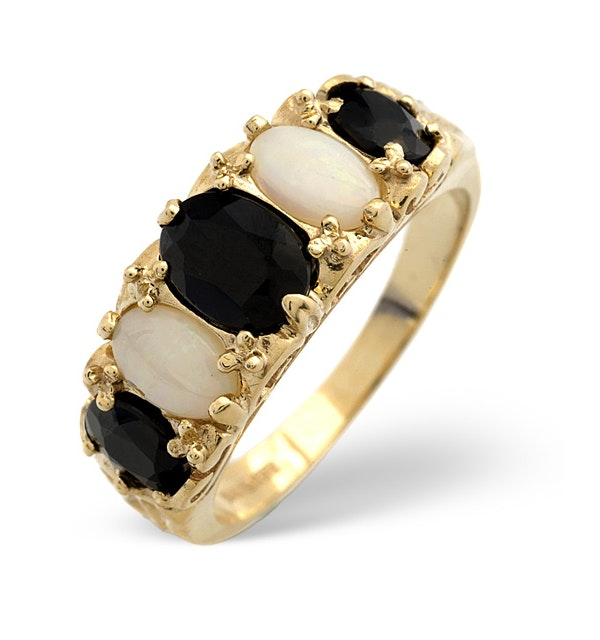 Sapphire And Opal 9K Gold Ring - image 1