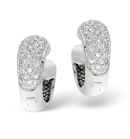 Huggy Earrings 0.28CT Diamond 9K White Gold