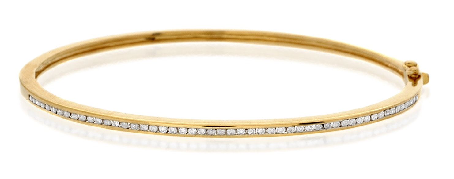Bangle 0.40CT Diamond 9K Yellow Gold