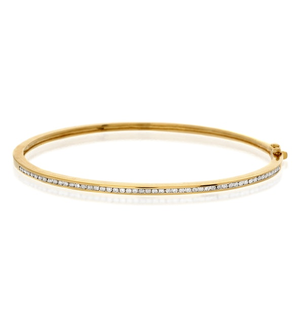 Bangle 0.40CT Diamond 9K Yellow Gold - image 1