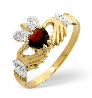 GARNET AND DIAMOND CLADDAGH 9K YELLOW GOLD RING