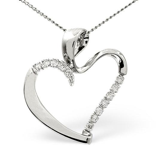 Heart Pendant 0.15ct Diamond 9K White Gold