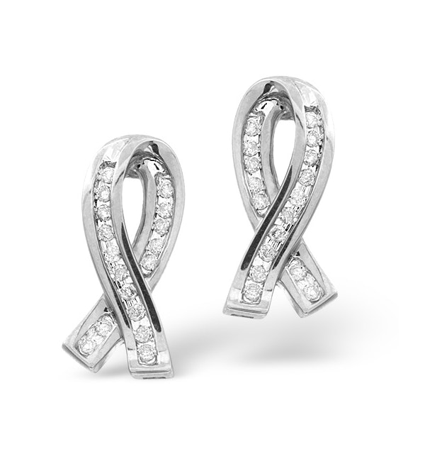 Ribbon Earrings 0.31ct Diamond 9K White Gold - image 1