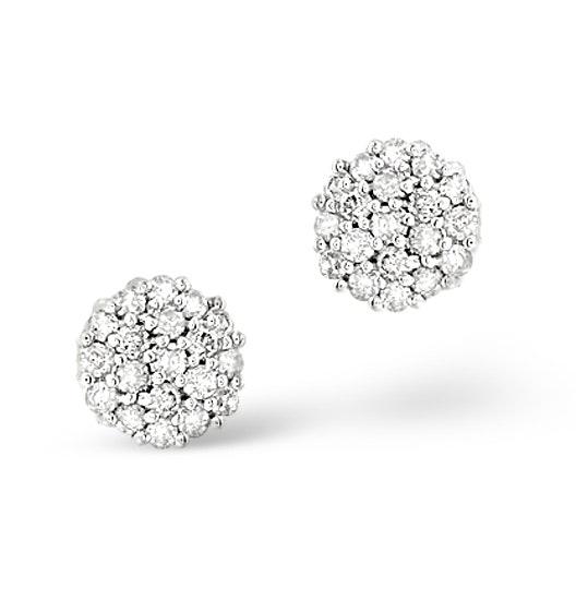Cluster Earrings 0.25ct Diamond 9K White Gold