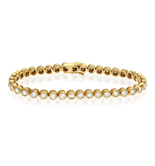 Diamond Tennis Bracelet Rubover Style 4.00ct 9K Yellow Gold - image 1