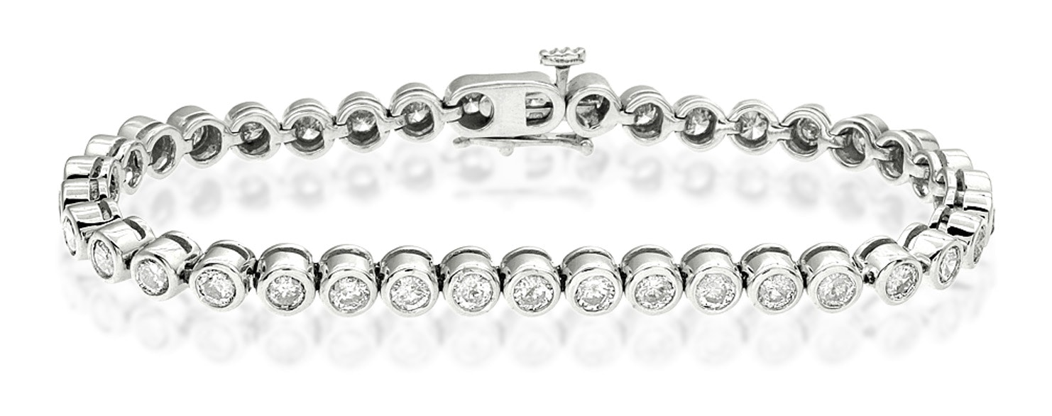Diamond Tennis Bracelet Rubover Style 4.00ct 9K White Gold