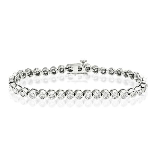 Diamond Tennis Bracelet Rubover Style 4.00ct 9K White Gold - image 1