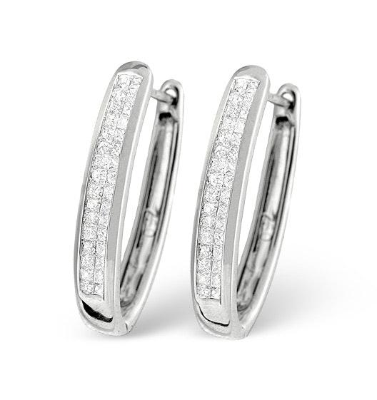 9K White Gold Princess Diamond Earrings 0.50ct H/Si