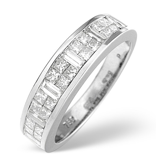 18K White Gold Princess and Baguette Diamond Half Eternity Ring