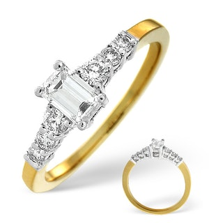 H/SI SOLITAIRE WITH SHOULDERS RING 0.76CT DIAMOND 18K YELLOW GOLD