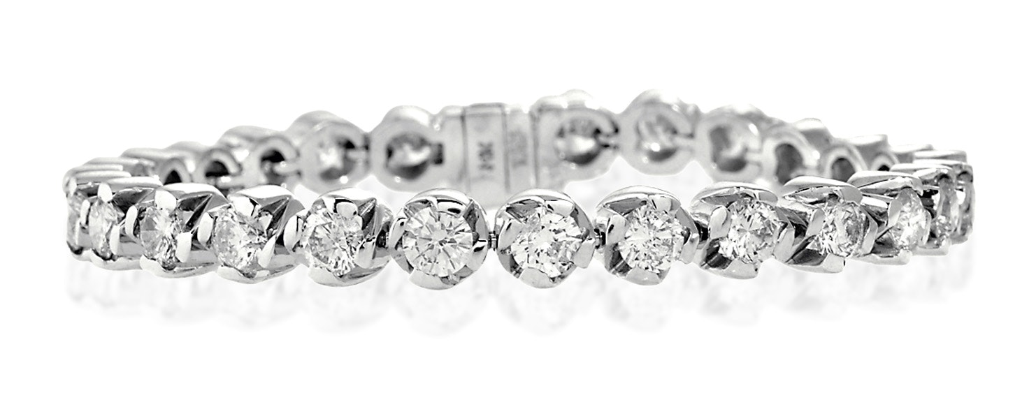 Diamond Tennis Bracelet 9.10ct 18K White Gold