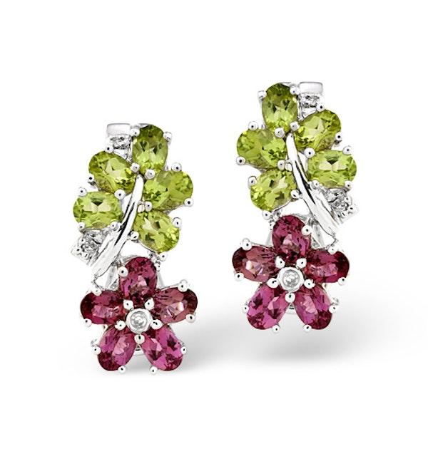 Multi And 0.04CT Diamond Earrings 9K White Gold - image 1