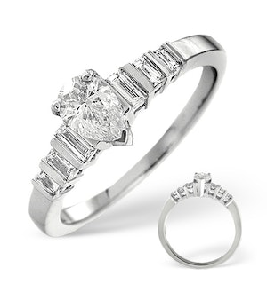 H/SI SOLITAIRE WITH SHOULDERS RING 0.72CT DIAMOND 18K WHITE GOLD