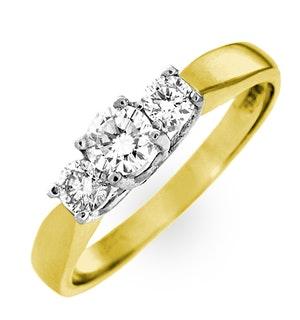 ARIELLA 18K GOLD 3 STONE DIAMOND RING 0.50CT H/SI