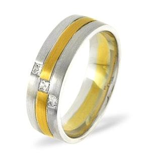 MENS 0.07CT H/SI DIAMOND 18K GOLD DRESS RING  IYD42-9JUY